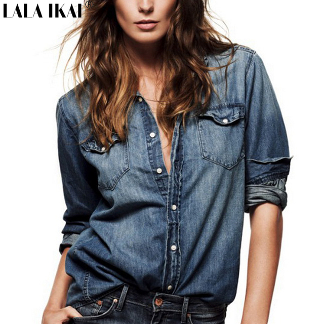 Faux Suede Womens Blouse Solid Single Breasted Slim Fit shirt Women Turn  Down Collar Shirts Denim