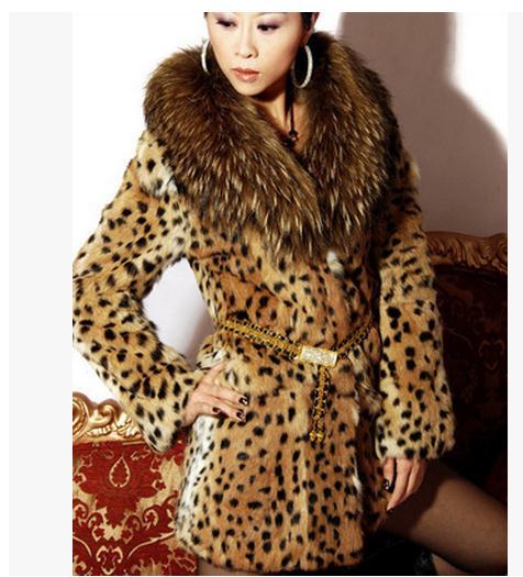 S/6XL Womens Leopard Print Faux Fur Coat Women Casual Raccoon Fur Collar Fashion Man-Made Fur Long Jacket Plus Size Overcoat K18