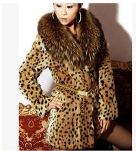 S/6XL Womens Leopard Print Faux Fur Coat Women Casual Raccoon Fur Collar Fashion Man-Made Fur Long Jacket Plus Size Overcoat K18