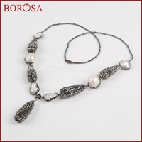 BOROSA 29 Beaded Necklace For Women Natural Freshwater Pearl 3mm Black Beads Necklace Rhinestone Pave Druzy