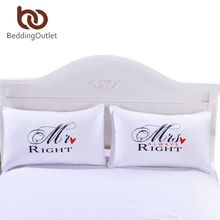 Sr. y sra. beddingoutlet par de fundas de almohada fundas de almohadas para él o ella navidad romántico regalo de aniversario de bodas de san valentín