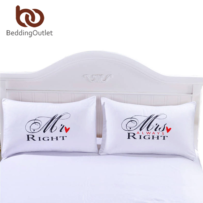 BeddingOutlet MR and MRS Pillowcases Couple Pillow Shams for Him or Her Christmas Romantic Anniversary Wedding Valentine's Gift