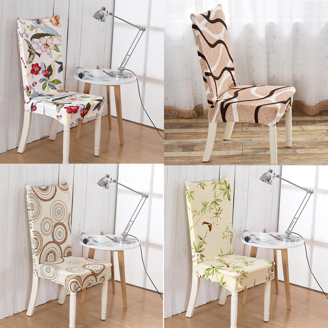 24 Color Printed 4pcs Fashion Home Living Dining Chair Covers Spandex Stretch Room