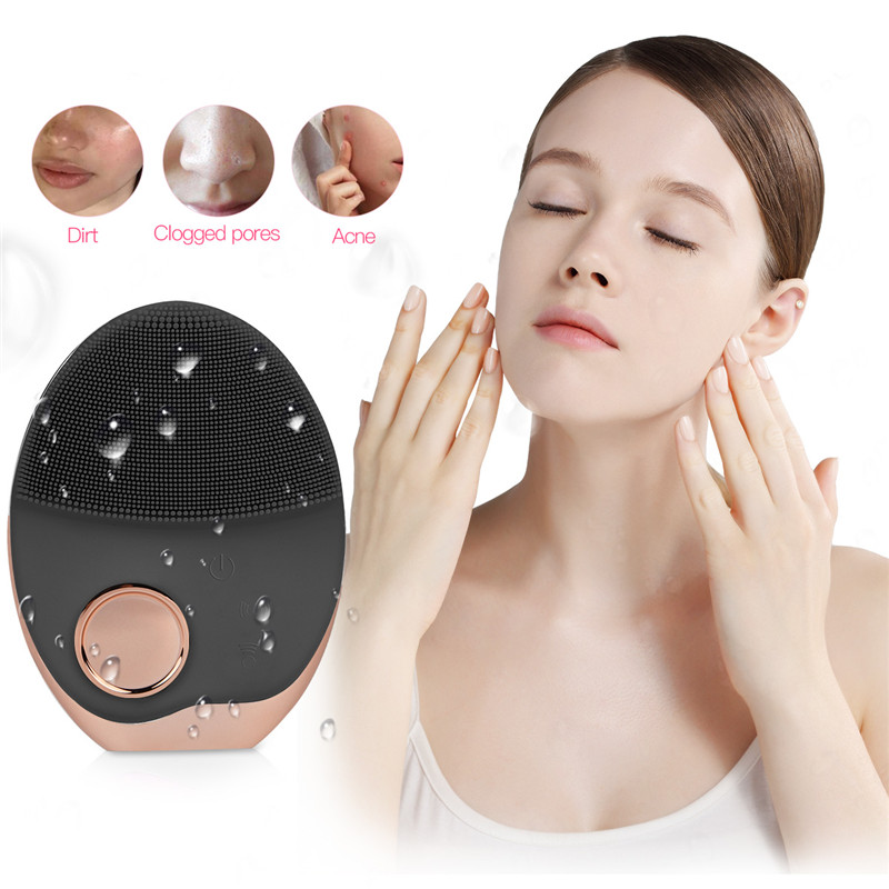 Electronic Ultrasonic Wireless-charging Facial Cleansing Brush Silicone Rechargeable Waterproof Face Massager with Photon 34