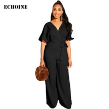 цена на Elegant V-neck Jumpsuit with Belt Women Short Sleeve Playsuit Wide Leg Slim Rompers Jumpsuit Sexy Club Wear Outfit Party Overall