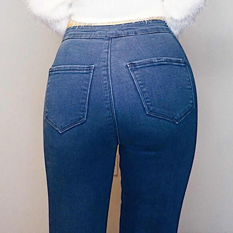 7852adb2a60 ... Джинсы женские джинсовые узкие брюки Винтаж Высокая талия джинсы Для  женщин Повседневное стрейч обтягивающие джинсы Femme