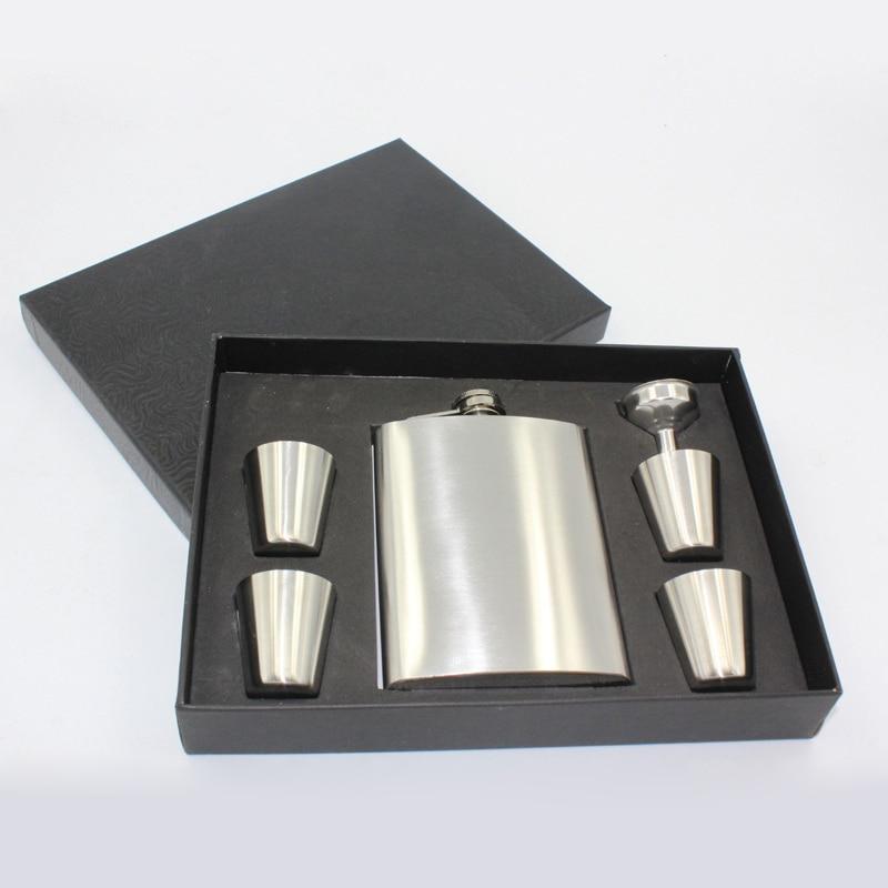 6Pcs/Set 8oz Stainless Steel Hip Flask Alcohol Whisky Flagon Outdoor Portable Pocket Hip Flask Gift Set 4Cup+1Funnel+1Hip Flask