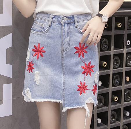 b706e12ea € 13.81 20% de DESCUENTO|Carol Diaries mujeres Faldas Denim Vaqueros  bordado floral moda Slim casual faldas vintage falda de mezclilla femenina  ...
