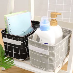 Image 5 - Cotton Storage Boxes Make Up Cosmetics Organizer Book Container Dirty Clothes Casket Portable Office Organizer With Handle
