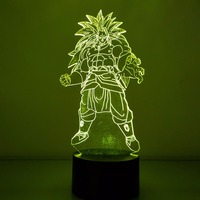 Dragon Ball Broly 3D Visual Illusion LED Nightlight RGB Color Changing USB Dragon Ball Super Saiyan