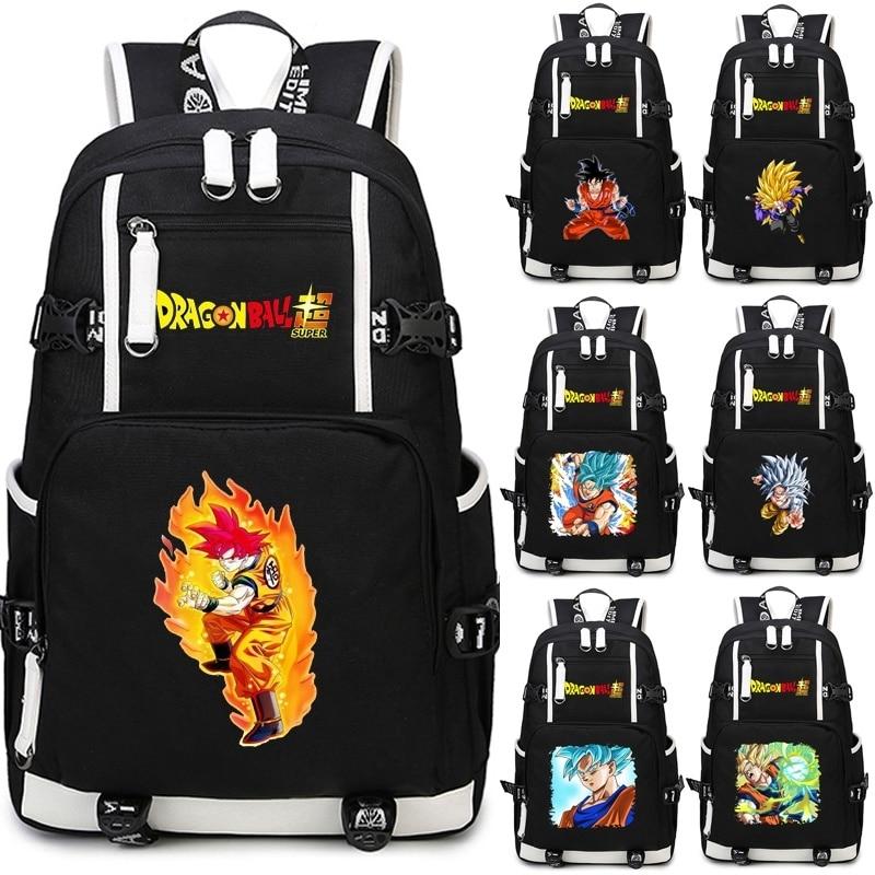 Hot Anime School Bag Dragon Ball Z Backpack Super Saiyan Goku Knapsack Black Backpacks Outdoor Travel Laptop Bagpack For Teenage