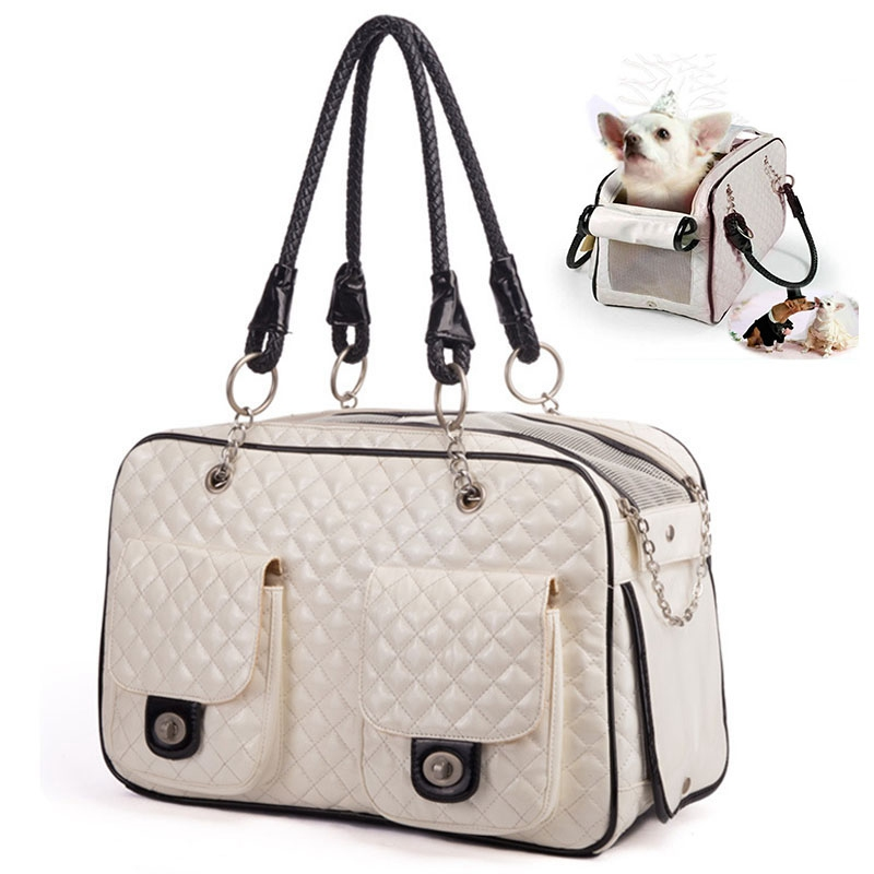 Fashion Pet Carriers Portable Shoulder Bag Outdoor Travel Cat Bag Faux Leather Small Cat Dog Carrier