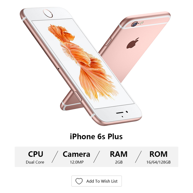 Unlocked Apple iPhone 6S plus 2GB RAM 16GB/64GB ROM 5.5″ display 12.0MP iOS LTE fingerprint Single sim Dual Core smartmobile