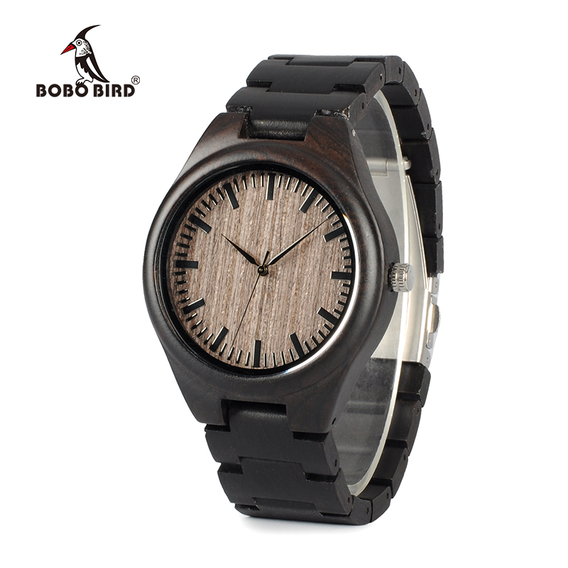 BOBO BIRD WO08 Brand Designer Wood Watch Ebony Wooden Quartz Watches for Men Watch in Wooden Box bobo bird wh05 brand design classic ebony wooden mens watch full wood strap quartz watches lightweight gift for men in wood box