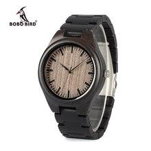 BOBO BIRD WO08 브랜드 디자이너 우드 시계 에보니 나무 쿼츠 시계 남성용 시계 나무 상자