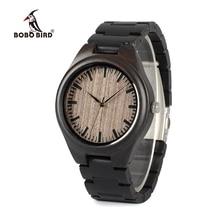 ボボ鳥 WO08 ブランドデザイナー木製腕時計黒檀木製クォーツ時計男性のための木製ボックス