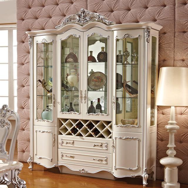 European Wine Carved White Dark French Four Doors Living Room Decorative  Glass Hall Room Wine Tank Part 59