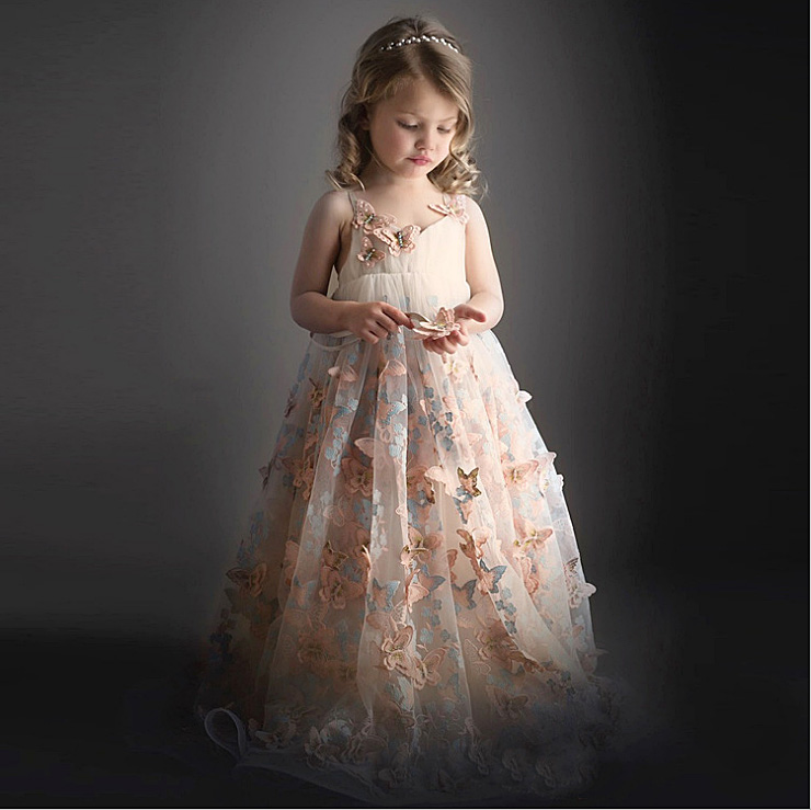 3492 Butterfly Embroidery Maxi Princess Costume Party Girls Dress Wedding Kids Dresses For Girls Wholesale Baby Girl Clothes 3P girl dresses cinderella dress costume princess party dresses girls christmas clothes fresh butterfly dress for teenagers