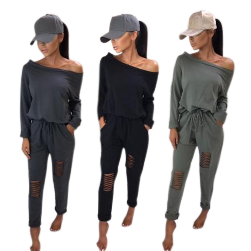 Fashion Spring Autumn Women Sexy Jumpsuit One Shoulder Long Sleeve Ripped Solid Color Ladies Girls Casual Romper H9