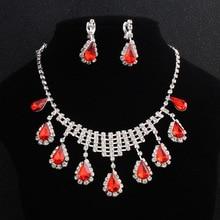 LISM Popular Red Crystal Wedding Bride Jewelry Set Simple Water Drop Pendant Earring Accessories