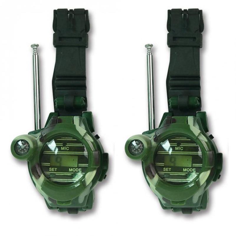 2Pcs Children Walkie-talkie Toy Camouflage Military 7 In 1 Watch Compass Wireless For Children Interactive Toy