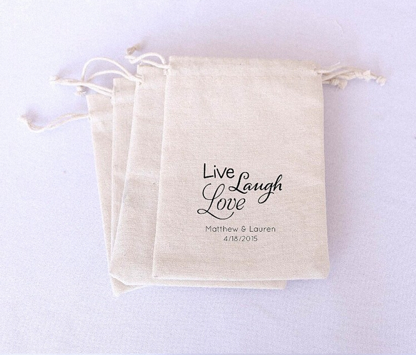 New Arrival Free Shipping 48 Pcs Lot Live Laugh Love Wedding Favor Boxes Gift Bags Burlap Drawstring Party Decoration In Candy From Home