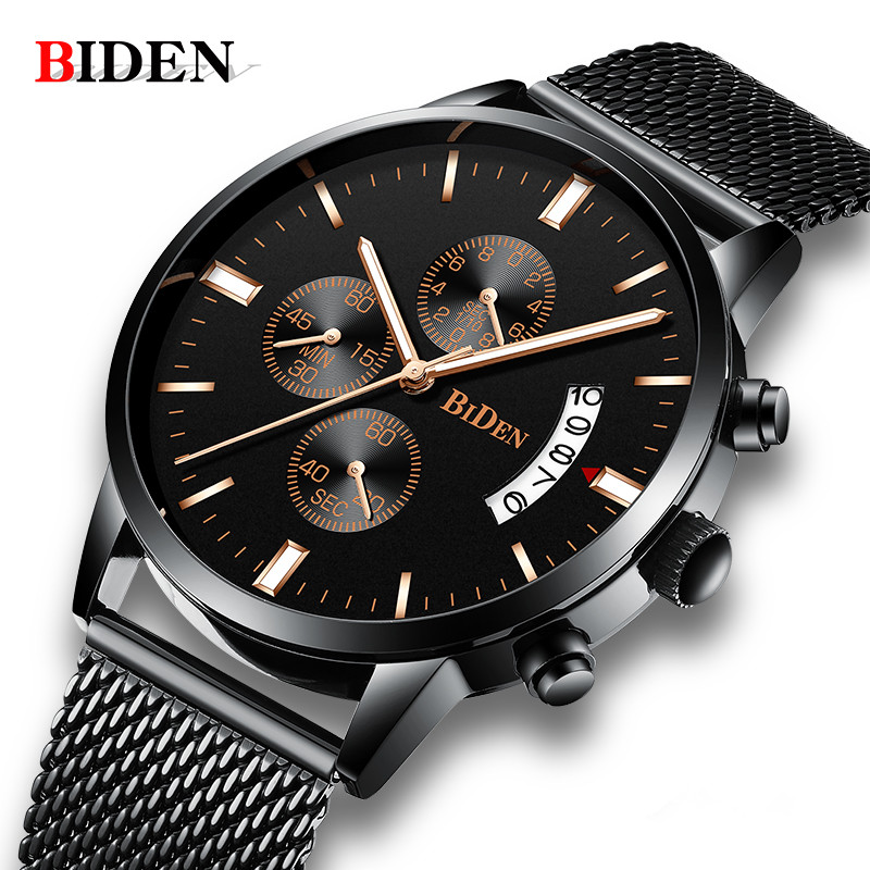Fashion Simple Stylish Top Luxury Brand BIDEN Watches Men Stainless Steel Mesh Strap Quartz-watch Thin Dial Date Clock Man 2018 fashion simple stylish luxury brand crrju watches men stainless steel mesh strap thin dial clock man casual quartz watch black