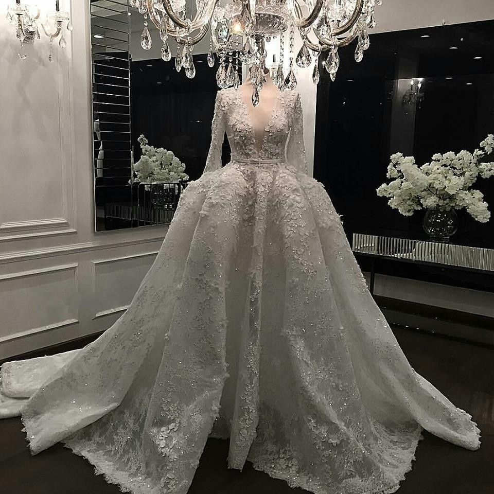 Real picture long sleeve wedding gowns robe de mariage for Long sleeve lace v neck wedding dress