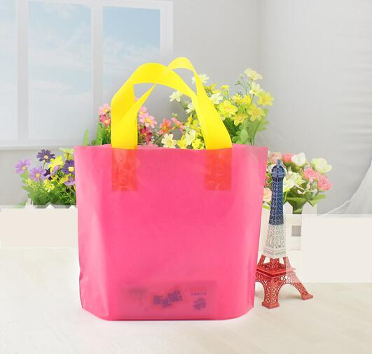25*20+4cm Wholesale Purple flower Plastic Bag Shopping Jewelry Packaging Plastic Gift Bag With Handle