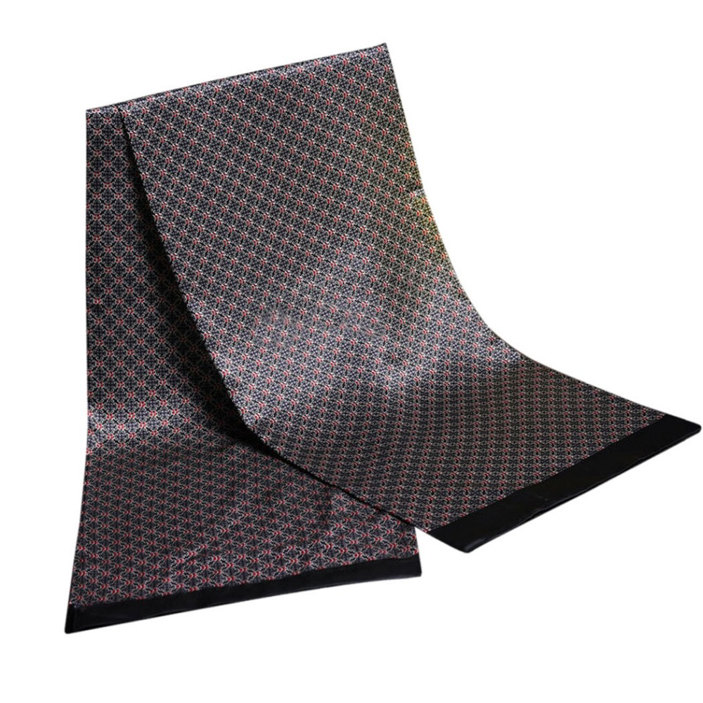 luxury brand men foulard Satin Scarves Retro Soft Scooter bandana pattern double silk scarfs Men Paisley print cravat silk Scarf