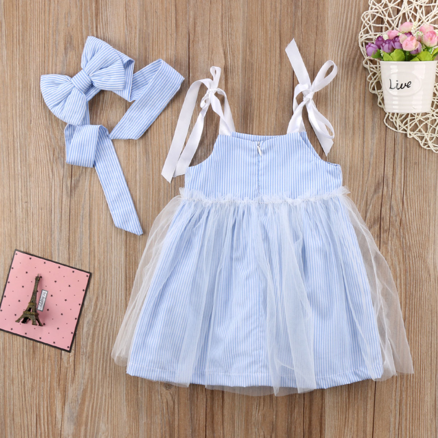 9dccefaedc Cute Lovely Toddler Pretty Baby Girls Dress Fille Jolie Sleeveless Striped  Lace Tulle Sundress Bandage Outfit Summer Dresses