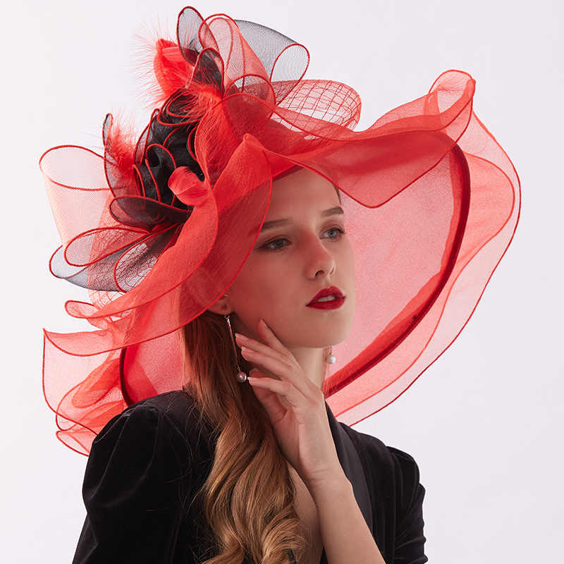 Women's Crimping Sun Hats Elegant Organza Wide Brim Hat Feather Wedding Party Cap Ladies Beach Summer Sun Hat chapeau paille