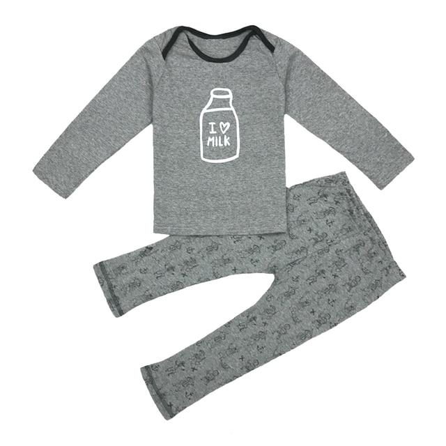 100 Cotton Soft Quality Brand Baby Clothing Set I Love Milk Tops