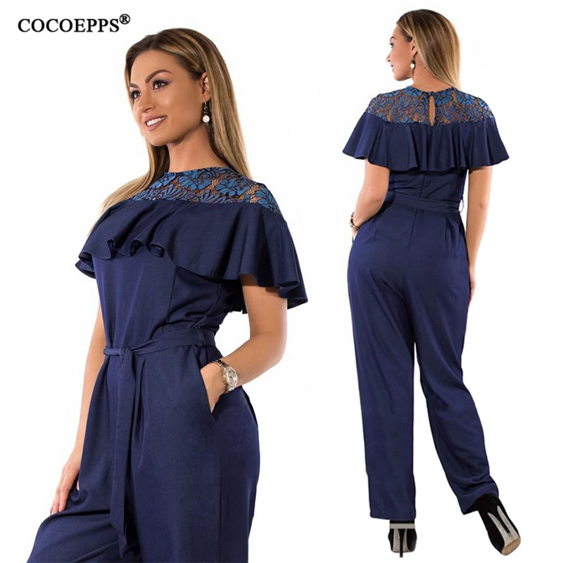 5XL 6XL Plus Size Summer jumpsuits for women 2018 Lace Ruffles Big Size Rompers Overalls Large Size Female Casual Jumpsuit Women