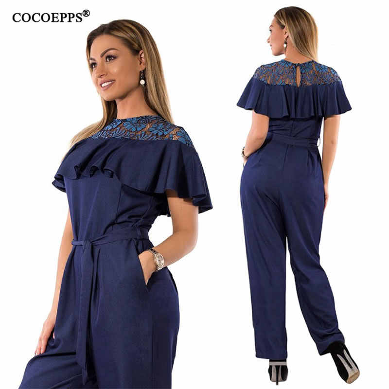 cdc4575a54f 5XL 6XL Plus Size Summer jumpsuits for women 2018 Lace Ruffles Big Size  Rompers Overalls Large
