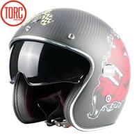 TORC New Carbon Fiber MOTO Helmet Casco Capacetes Vintage Jet Open Face Motorcycle Helmets Cafe Racer