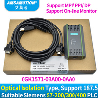 USB MPI DP PPI for Siemens S7 200/300/400 PLC Programming Cable PC Adapter USB A2 6GK1571 0BA00 0AA0 PC Adapter For S7 System