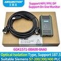 USB-MPI DP PPI para Siemens S7-200/300/400 de programación de PLC, Cable PC Cable adaptador USB A2 6GK1 571-0BA00-0AA0 PC adaptador para S7 sistema