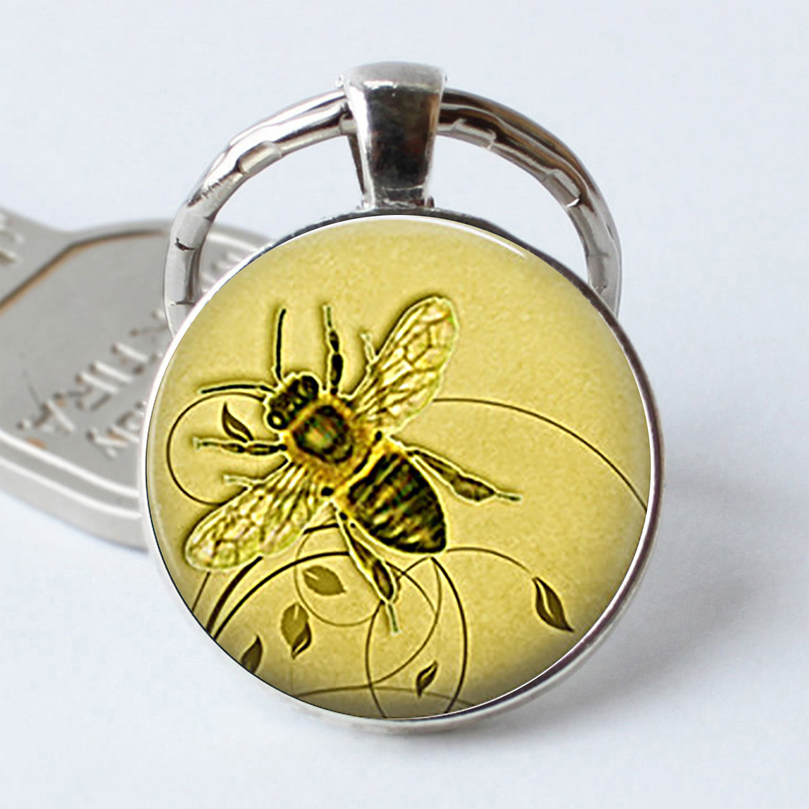 Honeybee Keychain Honey Bee Cabochon Glass Keyring Honey Bee Jewelry Beekeeper Gift Apiarist Gift Honey Bee Key Chain Key Ring