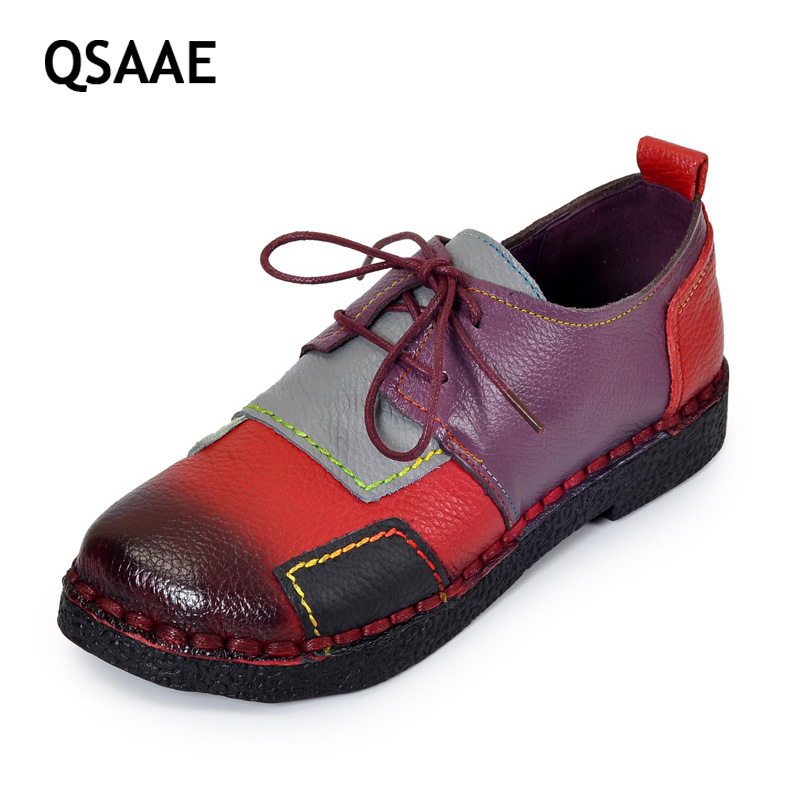 2017 Women's Handmade Shoes Genuine Leather Flat Lacing Mother Shoes Woman Loafers Soft Single Casual Shoes Women Flats AG53 vintage embroidery women flats chinese floral canvas embroidered shoes national old beijing cloth single dance soft flats