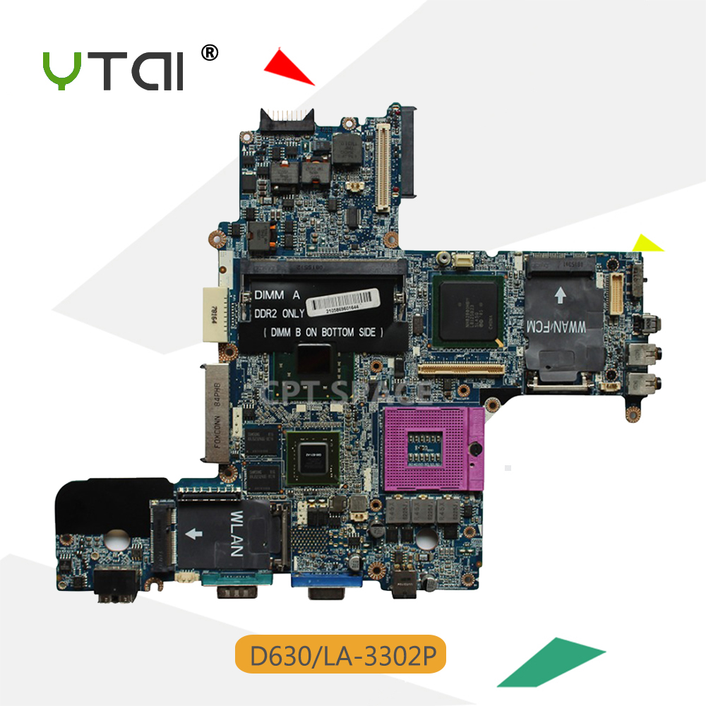 YTAI D630 LA-3302P Rev:1.0(A00) GM965 Mianboard For Dell D630 LA-3302P laptop motherboard Rev:1.0(A00) GM965 100% Tested ipc floor pca 6114p10 rev b1 100% test