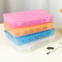 50pcs Transparent Practical Adjustable Plastic 36 Compartment Storage Box Case Earrings Tool Jewelry Display Organizer