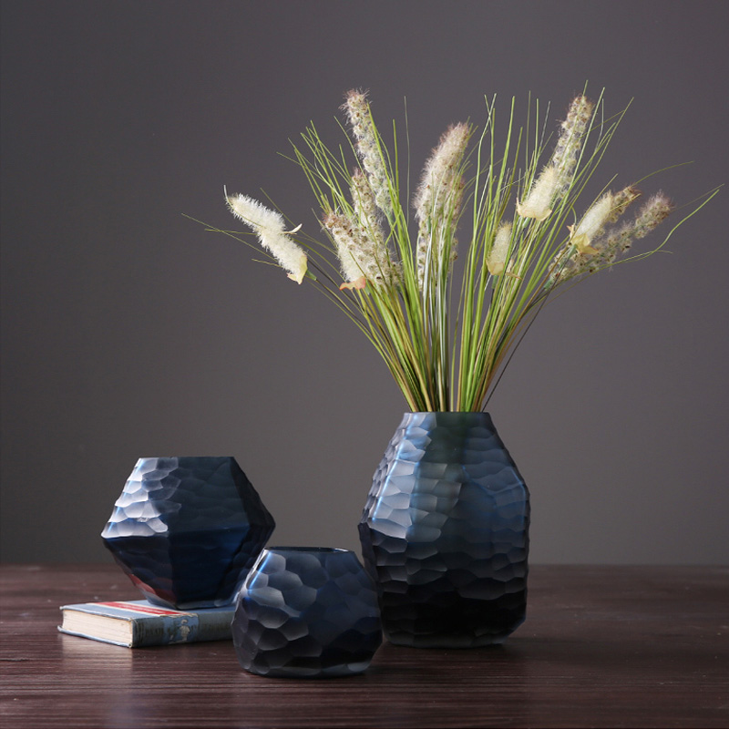 Nordic glass vase geometric rhombus handmade creative hydroponic flower vase terrarium glass containers wedding home decoration in Vases from Home Garden