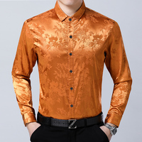 New 2018 mens spring floral silk shirt dress male long sleeve soft satin silk shirts floral man silk clothes