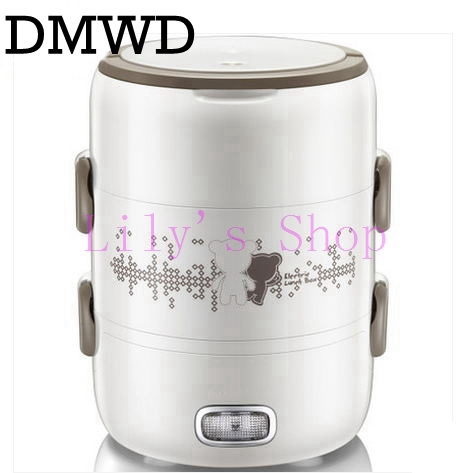 DMWD 3 Layer automatic heating lunch box mini portable Electric Rice Cooker Thermal stainless steel liner Steamer Food Container dmwd 3 layers electric insulation heating lunch box pluggable steamer electrical rice cooker stainless steel food container eu