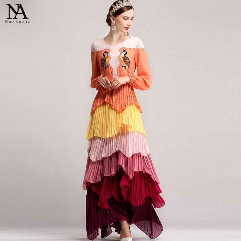 Luxury New Arrival 2018 Womens O Neck 3/4 Sleeves Embroidery Lace Patchwork Beaded Tiered Ruffles Elegant Long Runway Dresses