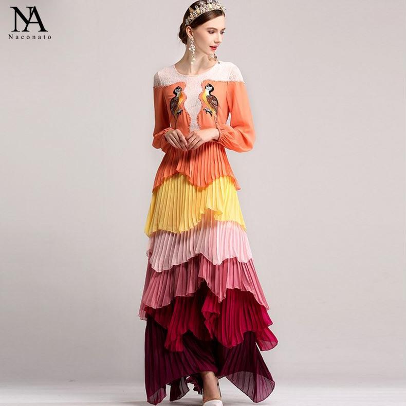 Nouveauté de luxe 2019 femmes col rond 3/4 manches broderie dentelle Patchwork perlé à volants élégant longues robes de piste