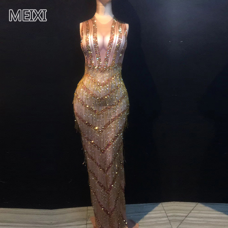 The Atmosphere Sparkled With Sexy Golden Tassel Rhinestone One-piece Dress Bar Birthday Party Concert Singer Dancer Costumes