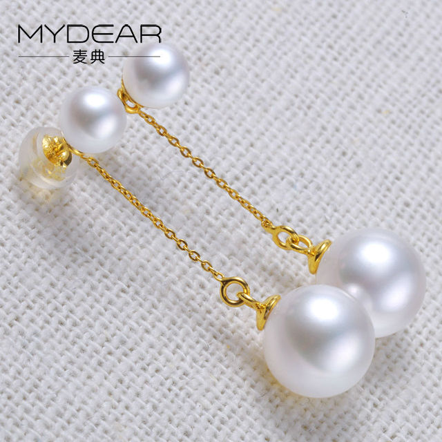 MYDEAR Pearl Jewelry Natural White Round Freshwater Pearl Earrings Gold Long Drop Earrings Women Unique Style Fashion Jewelry