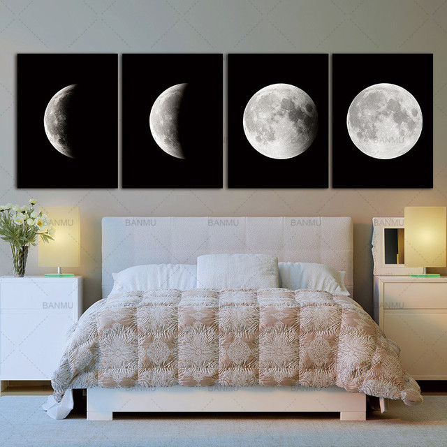 Modern Abstract Space Paintings On Canvas Wall Black White Pictures Photo Lunar Eclipse Prints Artwork Art